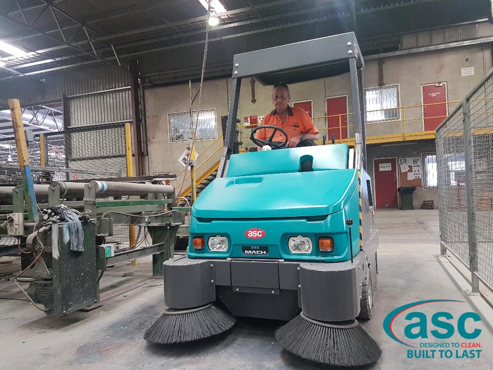 Operator Driving The ASC Eureka M6 Sweeper At BGC's Plant