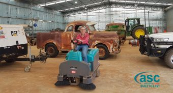 Tumbar Grazing Purchases the ASC M3 Sweeper to Keep Massive New Farm Shed Free from Red Outback Dust