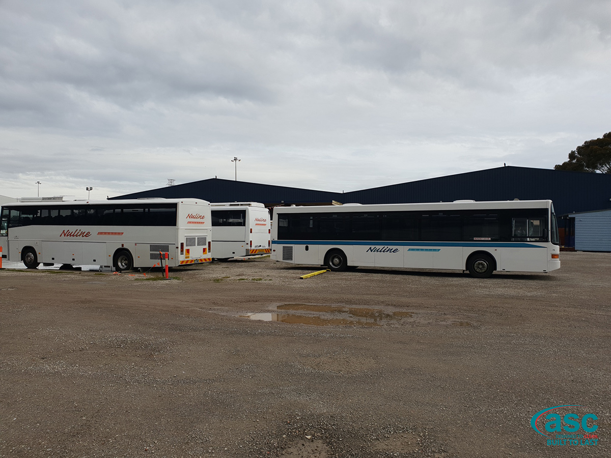 Buses Parked At Nuline Charter's Moorabbin East Facility