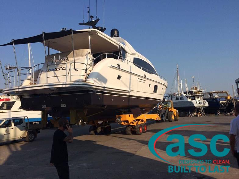 Pulling A Yacht At Spot On Marine Yard