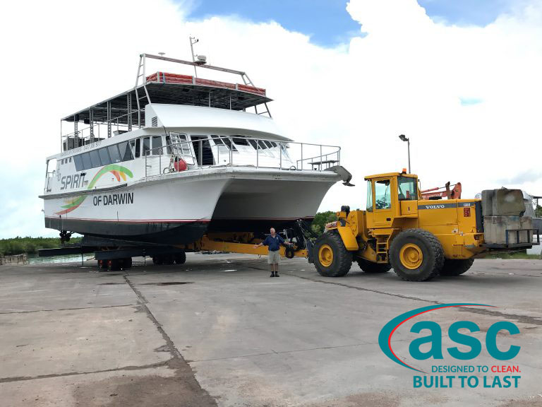 Pulling A Ferry Boat At Spot On Marine's Facility