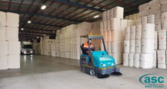 Olan Cotton,  a universal supplier of cotton to the world's textile markets has purchased a ASC Mach 6 Sweeper to keep their massive Dalby (Qld) facility clean.