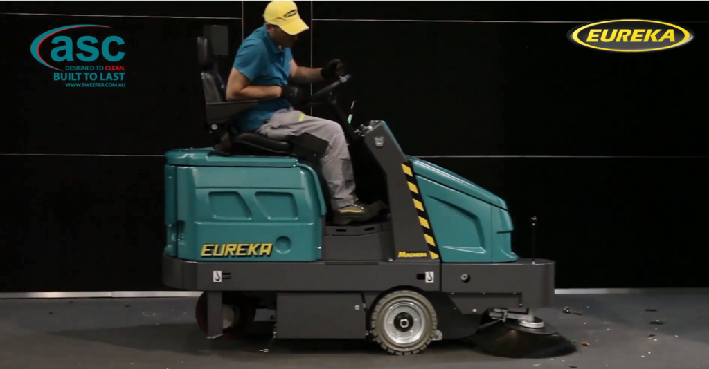Carpet Cleaning With Large Rider Sweeper