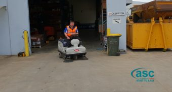 Ex-Fleet Mach 3 Sweeper Keeps The Highway Tractor Spares' Huge Facility Dust Free