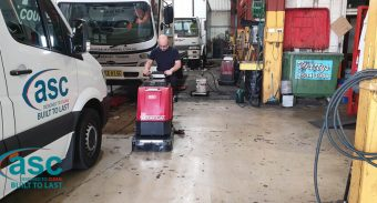 CMS Automotive (Tempe) Sydney Replaces His Old Floor Scrubber with ASC Factory Cat Floor Scrubber