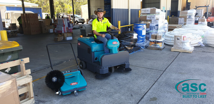 ASC MEP Dust Free Push Sweeper & Ex Fleet Battery Electric M3 Rider Sweeper 1